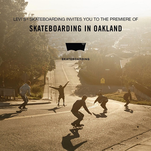 "@Levis will premiere its original film ""Skateboarding in Oakland"" tonight at 8 pm PT at 611 North Fairfax Avenue in Los Angeles.  Click the link on our profile page to learn more."