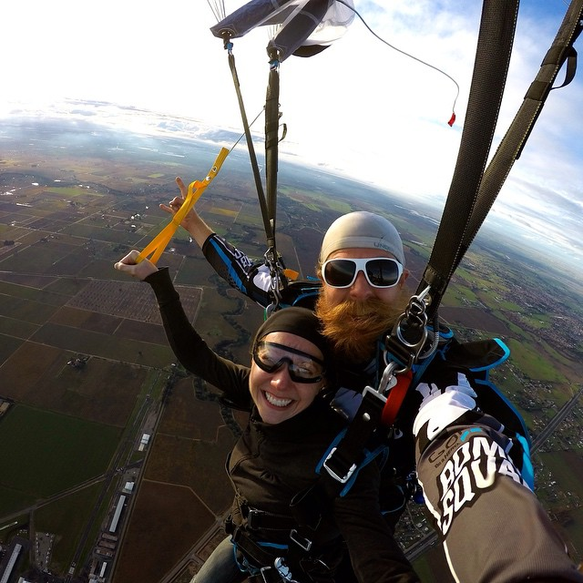 "Photo of the Day! Victoria Dudas says, ""I love the view from up here!"" Photo by @GoProBombSquad member @neilamonson1.  #skydiving"