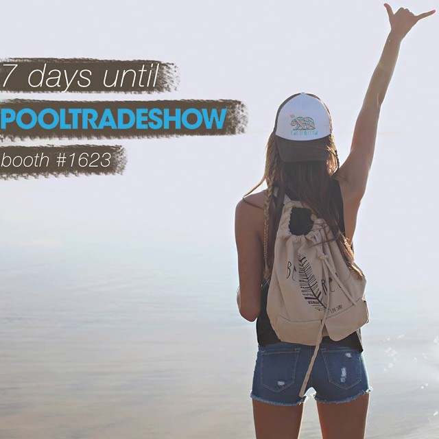 One week til #pooltradeshow at #MAGIC Las Vegas! #wearthecalidream #luvsurf #calibear #befree
