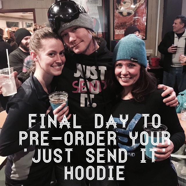 "Last chance to pre-order your ""JUST SEND IT"" hoodie #JustSendIt #mountsnow #hoodie #powder #skiing #snowboarding #skibears #802 #cuzzins #brucejacques"