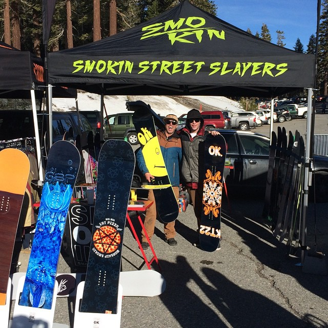 We are set up @mammothmountain with @insta_grampa @greydinsgram @_swells_  come demo some of the new line today and tomorrow #KT22 #BigWig #Jetson #forridersbyriders #handmade today and tomorrow.  #3yearwarranty