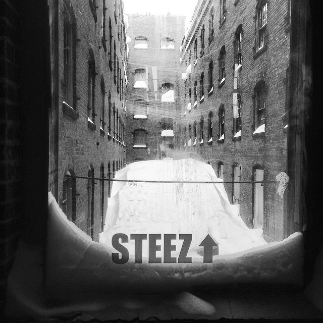 Mountains of snow in the office corridor. #steezmagazine #peabodyma