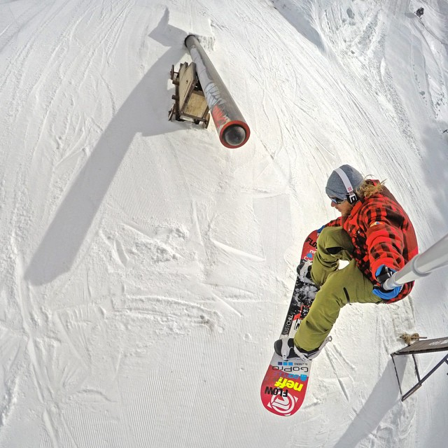 @timhumphreys was able to snag this shot while using the GoPro Smart Remote and GoPole Reach with included remote clip. GoPro HERO4 in Burst Mode (30/3) | GoPole Reach #gopro #hero4 #gopole #gopolereach #snowboarding #neffland @borealmtn
