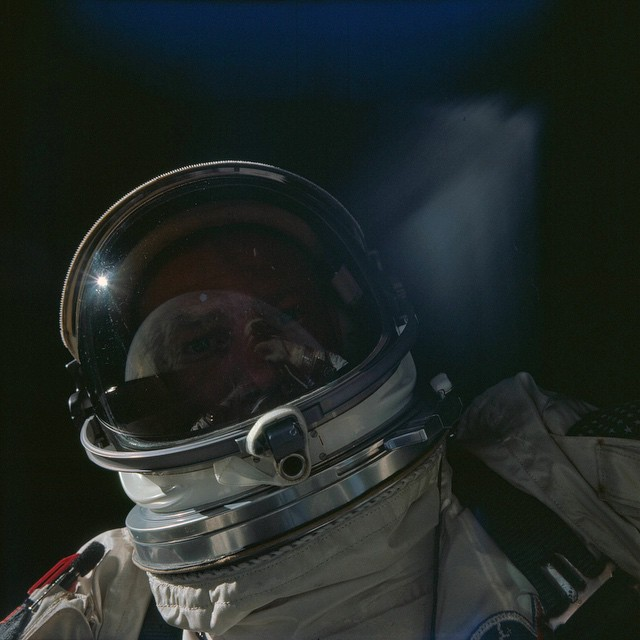 Buzz Aldrin's self-portrait during Gemini 12 with the Earth reflecting off his visor Nov. 12 1966 PC @nasa #ichibanisichiban #lovematuse