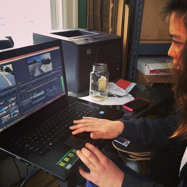 Team rider Yvonne Byers--@yvonzing is in the office editing video for the Spunk product guide! Video is coming soon!  #yvonnebyers #bonzing #spunk #sanfrancisco #skateboarding #shapers #artists