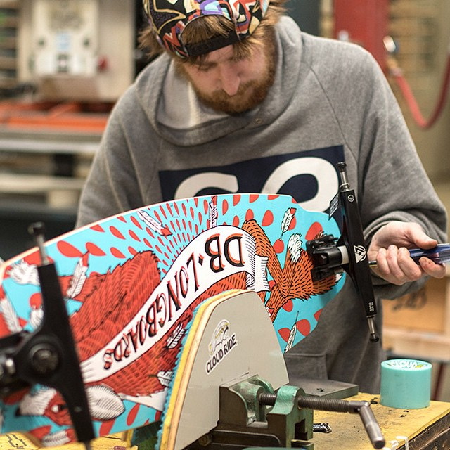 Joe putting together a Foxtrot complete in the shop today. #longboard #longboarding #longboarder #dblongboards #goskate #shred #rad #stoked #skateboard #skateboarding #bombhills #foxtrot #longboardlife