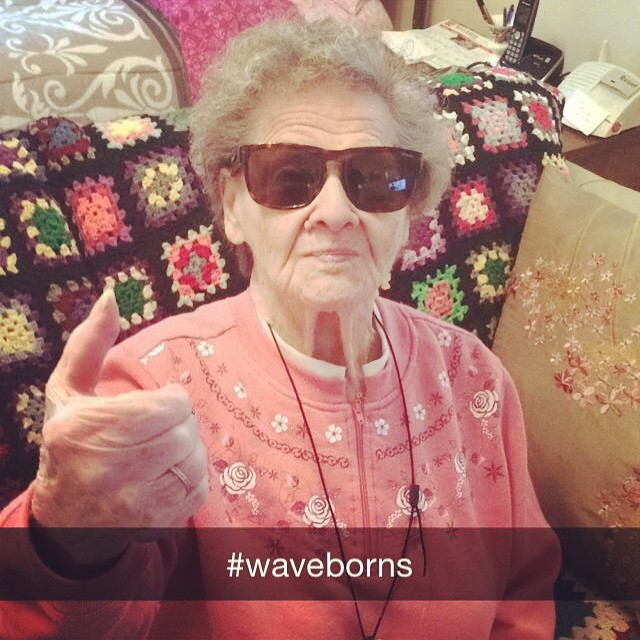 Grandma gives #waveborn the thumbs up #grandmaknowsbest #multigenerational #givesight #callyourgrandmaandtellheryouloveher #tbt