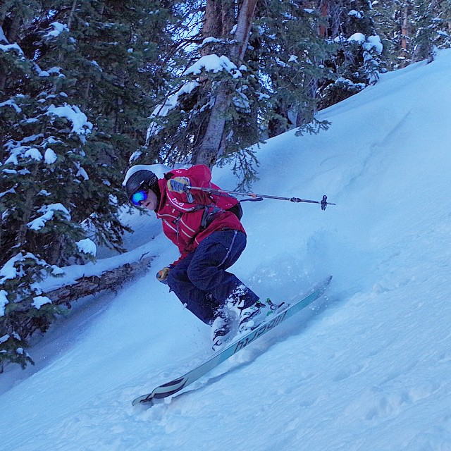 Hovering above some really surfy snow in the backcountry! #skiing #notpowdays @libertyskis