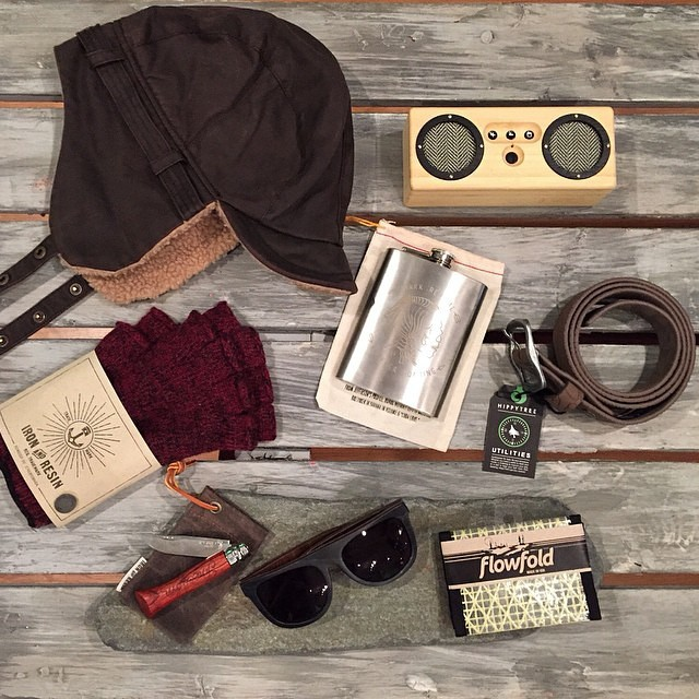 Regram from the fine gentlemen at @mainesurfersunion ... Valentine's Day gifts for him. Iron & Resin Spitfire Gloves, Bomber Hat, Freedom Knife, Roark Hobo Nickel Flask, FlowFold Kevlar Traveler Wallet, Proof Bird Wood Eyewear, Hippy Tree Trailhead...