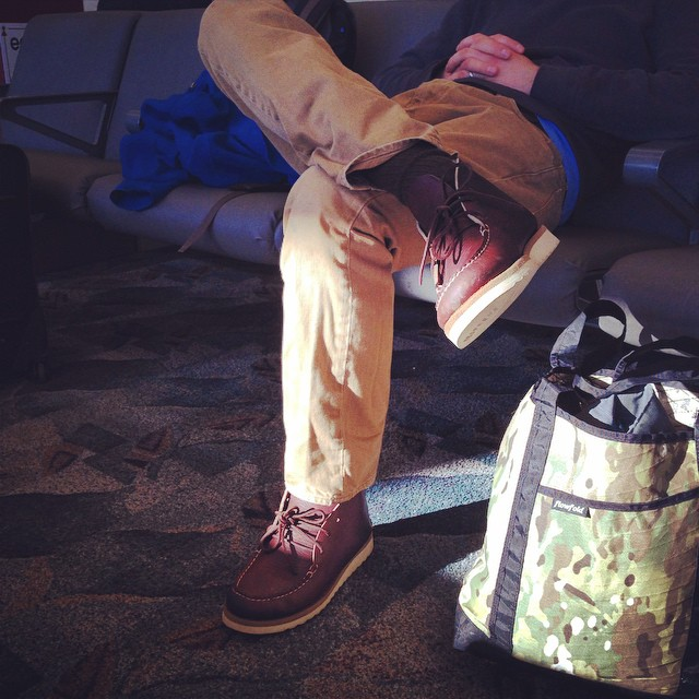 Limited edition Backwoods tote bag doing work in the Portland, Maine airport #flowfold #madeinusa #carrythefuture