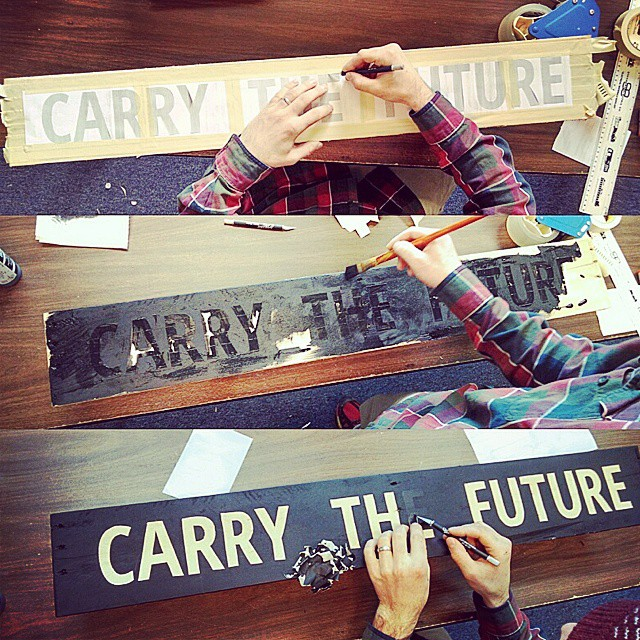 Sign painting for #outdoorretailer #carrythefuture #flowfold