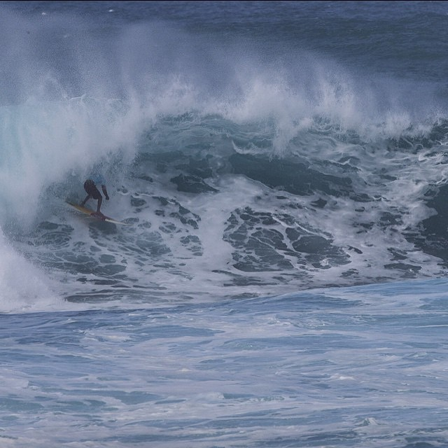 Aaron Napoleon find the barrel yesterday in round 1 at the Sunset beach pro