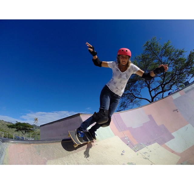 Aunty Barb from #hawaii shredding in her neon classic skate helmet | post and photo by : @huntahlong