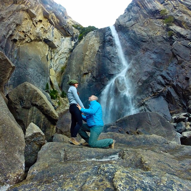 Photo of the Day! Yosemite Falls proposal. Photo by @blake_ohara. Congrats to the happy couple!