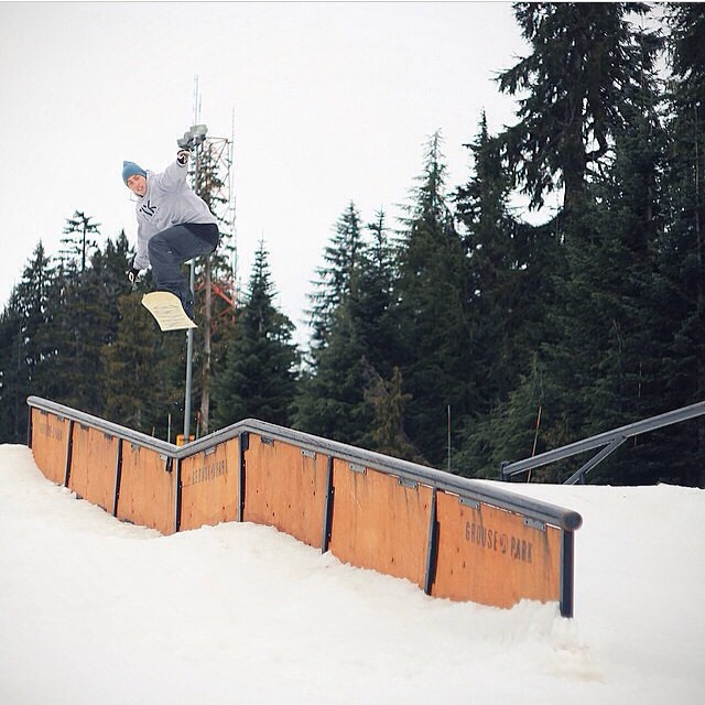 Trint Thomas (@trint_thomas) with that gap out to backside lipslide up at @grousemountain...by @logan_henda