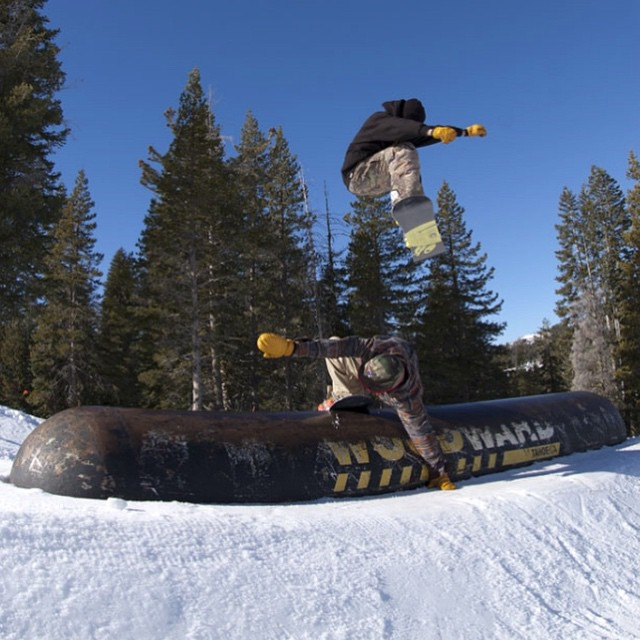 Terrain park manager @laneknaack and digger #BrandonGriffin over the pill @borealmtn