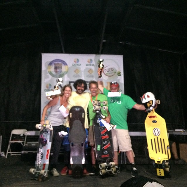 Downhill luge podium for Guama downhill from right to left!