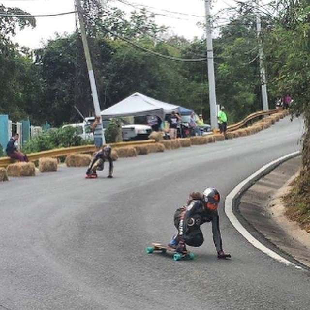 New York City LOCS @nycl_kai and  @nycl_sam mobbing their first run down Guamam downhill for a practice run!  #NYCL