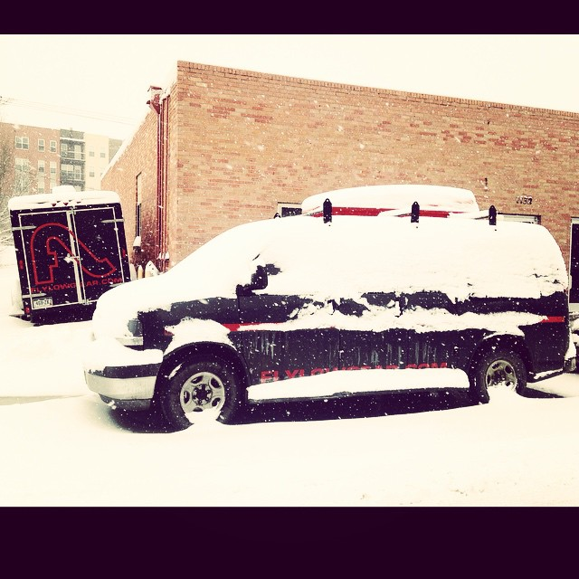 The ATeam rig may be parked at Flylow HQ, but Colorado it appears winter may have returned. #embracethestorm