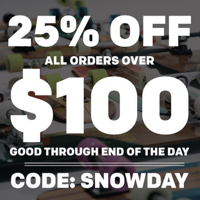 25% off all order over $100 for the rest of the day. Code: SNOWDAY. Head over to our website and pick up some goodies. #handmade #handmadeskateboard #nashville