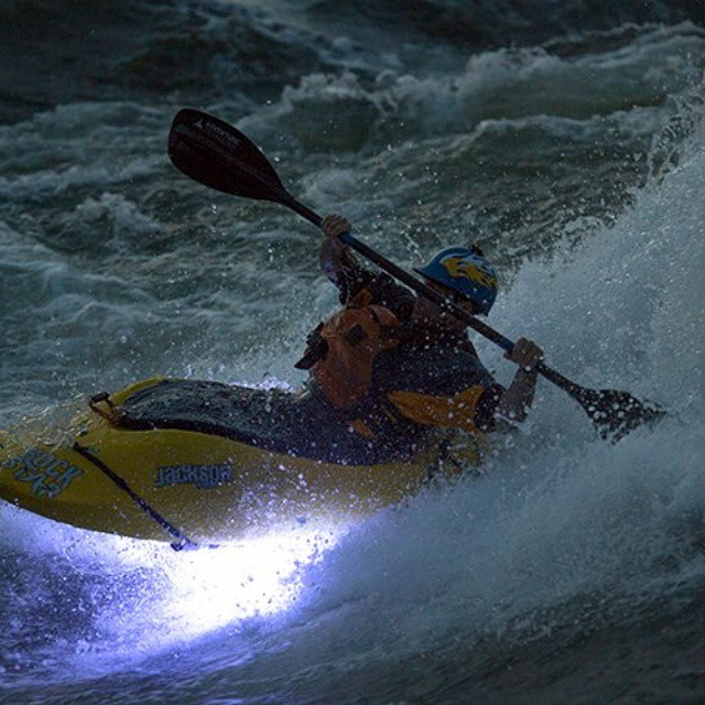 Stephen Wright having some fun on the #Nile #Special wave with his #NocquaAdventureGear LED lights and custom SR helmet.