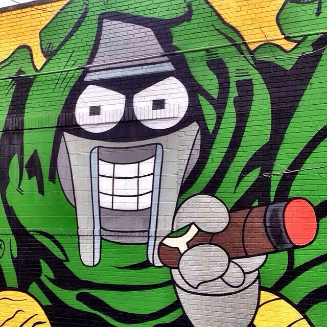 Dope #Bender x #MFDOOM mural done by @incarceratedjerkfaces #futurama #artwork #NYC