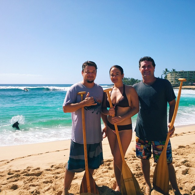 "Canoe surfing team, ""3 paddlers and Dennis too,"" we're spotted at Makaha this weekend wearing some of our products! They were participants of the 39th Buffalo Big Board Surfing Classic, which will be continuing its events next weekend!"