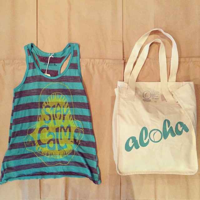 #beach essentials at our #popup. #Organik #staycalm #shark #tank #madeinusa from #recycled plastic bottles and #aloha #totebag in #organic cotton. #holidayshopping. 55 Merchant St #honolulu M-F10-3. Mention #IG and receive 20% off