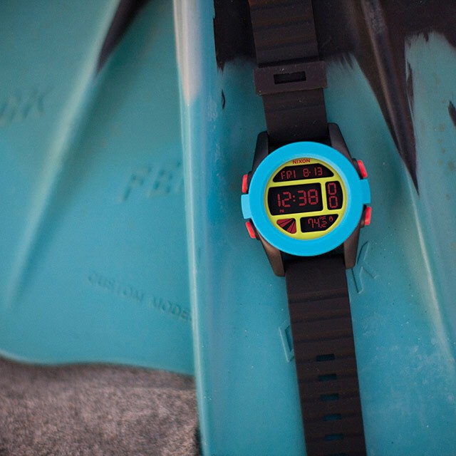 A digital freak.  Introducing The Unit in black / blue / chartreuse, now available from Nixon.  Shop now with free shipping both ways on nixon.com (link in bio: @nixon_now). #theunit #nixon
