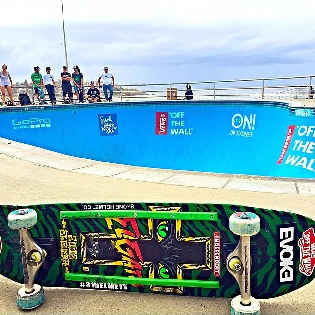 @eddieelguera is over in #australia . #bondibeach #bondibowl #s1helmets #eddieelguera #skateboarding photo by @chriselguera