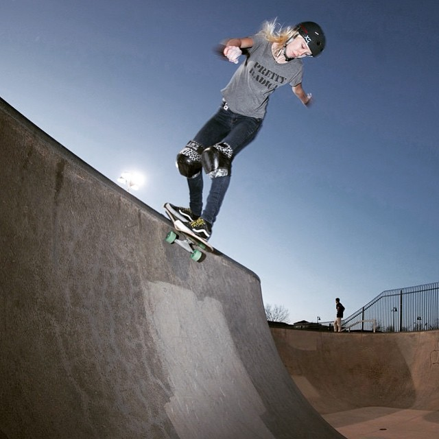 @bevmoskater wearing one of our new 2015 colours Gloss Charcoal Classic Skate helmet