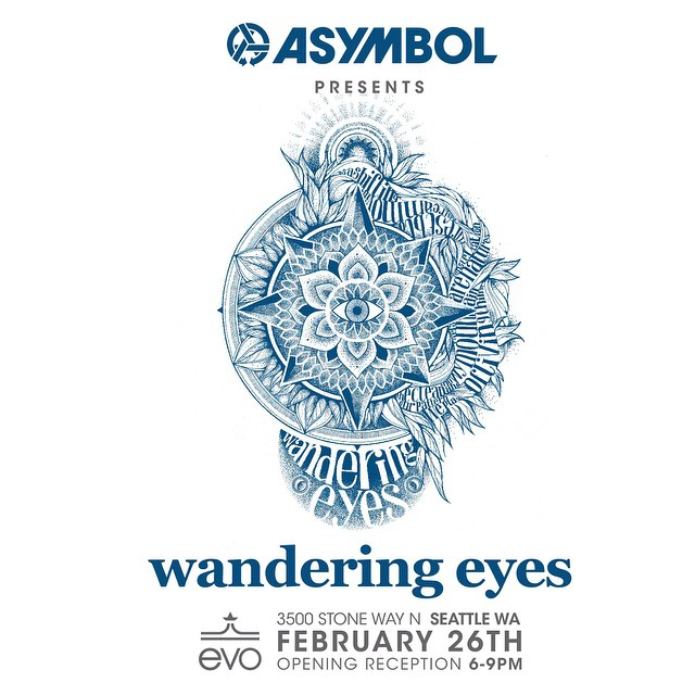 @stickfort, @jamiemlynn, @mikeparillo, @mattfrenchart, @tenhun, @iunatinta and @coreysmithsimulacrum art under one roof? Sure, why not!  Join Asymbol and @evo for a show of originals February 26th at evo Seattle.  Wandering Eyes: A Collection of...