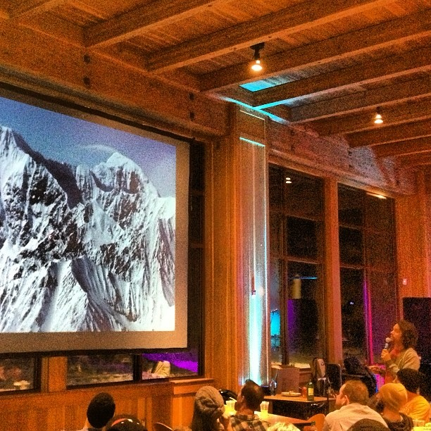 Taking notes--Jeremy Jones @jonessnowboards shares #avalanchesafety tips when picking steep lines. #backcountryball -- a fundraiser for #sierraavalanchecenter at @sugarbowlresort.