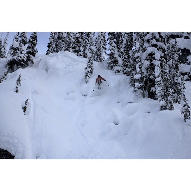 "@erichjorleifson ""product testing"" while filming for our next team film at @goldenalpineholidays #shapingskiing"