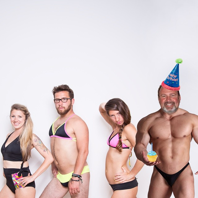 It's our dad's birthday today, and our gift to you is BIRTHDAY SALE! 50% OFF 2014 tops and bottoms. No joke. Also, Dad, have you been working out? #dadsbirthdaysuit #birthdaysale #24hours #kindafancy