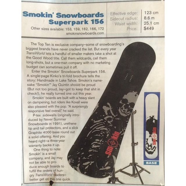 "I started making boards 21 years ago. I started with hope in my basement on the north shore of tahoe. The day this was printed in @twsnow I knew my life had changed and I had ""a chance to make it""  I won top ten best boards in a real contest in a test..."