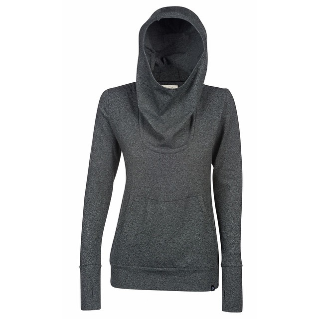 The [Fontanillis] hoodie. Designed with the active female in mind.  Crafted from a polyester spandex blend, it features an extra large hood and cowl neck accompanied by thumb hole inserts in the cuffs.  The next best thing to yoga pants....