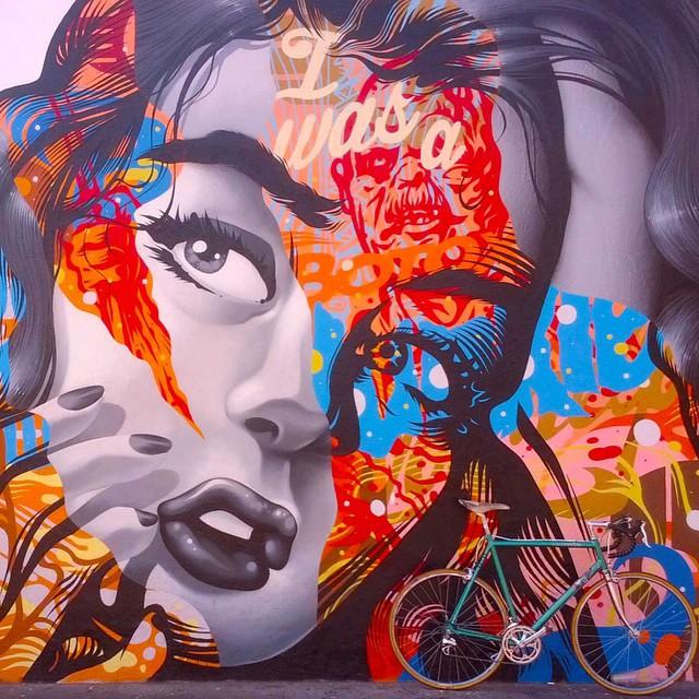 Artist Unknown. #trifecta #streetart #bike #loudmusic #mural #artwork #detailed
