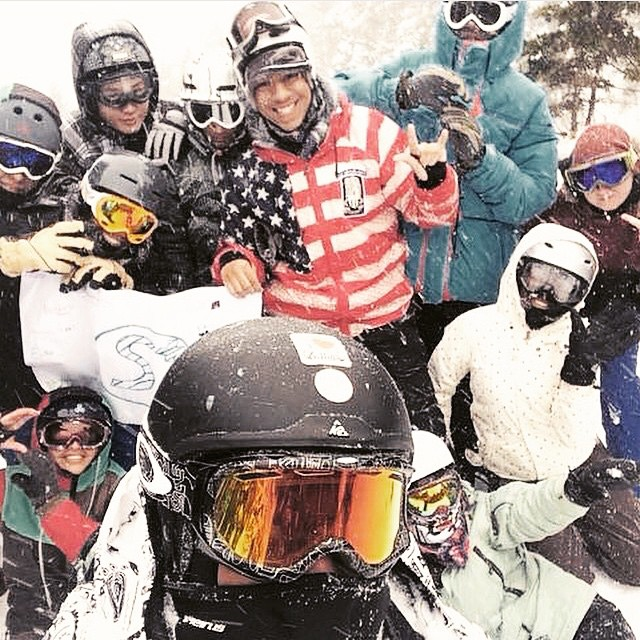 Best #squaaad photo! Our #stokedorg 3rd year students are on a ski trip this weekend in #Vermont. They're shredding with mentors, teambuilding, and working on college essays. #boom #stokedneverstops #actionsportschanging lives! #snowboardmentoring
