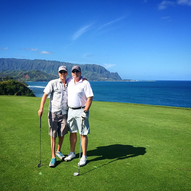 Celebrating 50 years of Jim!  Honored to drive cart this AM & watch #007 crush golf balls in #Princeville | #Makai | #ChoosePositivityNow.com