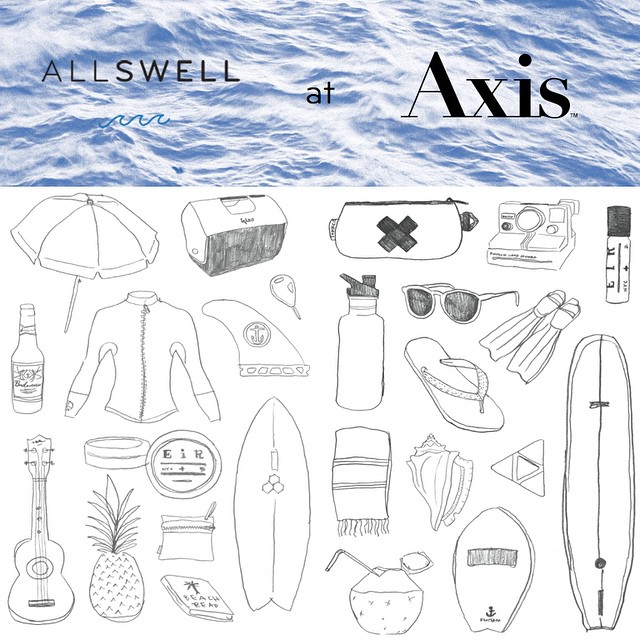 Beachy illustrations by @aolanow are a sneak peek of the new AllSwell notebook | Come hang out: AllSwell is posted up at @axisshow at Pier 94 in #NYC from today, February 22nd - Tuesday, February 24th. If you're around, be sure to stop by booth A35 and...
