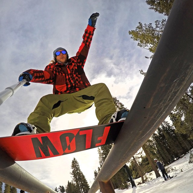 @timhumphreys found the best angle for this double boardslide selfie. GoPro HERO4 | GoPole Reach #gopro #gopole #gopolereach #snowboarding #neffland #selfiesunday @flowsnowboardn @borealmtn