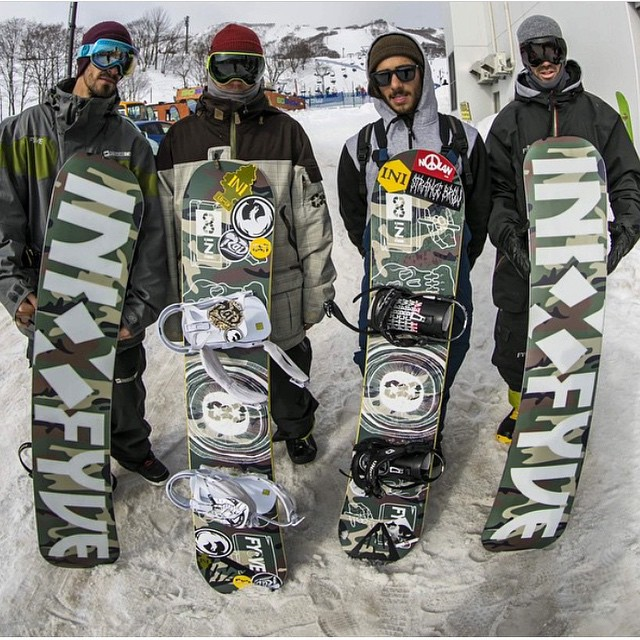Squad deep in Japan. Rippin the new Camo @5fyve boards with #bamboo cores . #Niseko |