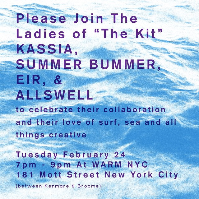 New newness: launching AllSwell Notebook No. 2 and #TheKit, our beachy collab with @kassiasurf @summerbummer_ca @eirnyc tomorrow (Tuesday) in #NYC at @warm_ny. If you're local rsvp to aloha@warmny.com. Thanks to @donjuliotequila and @tinyempirenyc for...