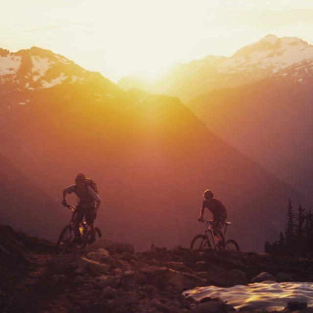 Ripping through alpine British Columbia. #MTB #settingsun