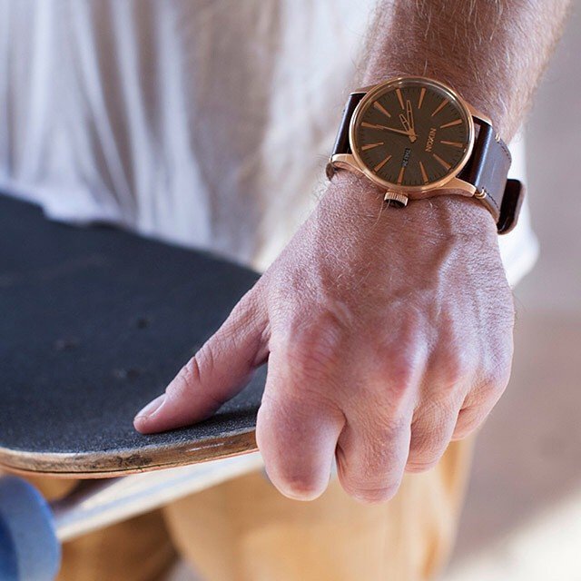 Rich beauty, scarred character.  The Rose Gun Burnished Collection, now available from Nixon.  Shop this look now with free shipping using our new shoppable link in bio: @nixon_now. #nixon #thesentryleather #rosegold