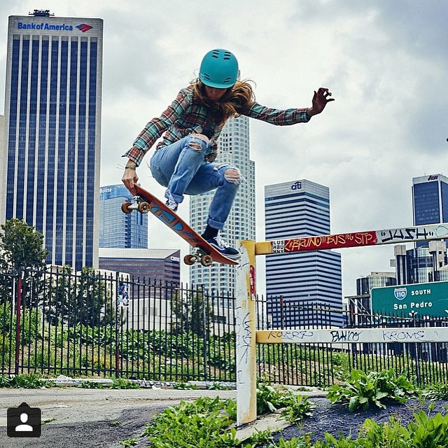 Stylie @sierra_prescott makes some fun in her urban landscape #betweenmeetings #playtime #forgirlswhoshred #skateboarding #xshelmets #skatebikeboardski