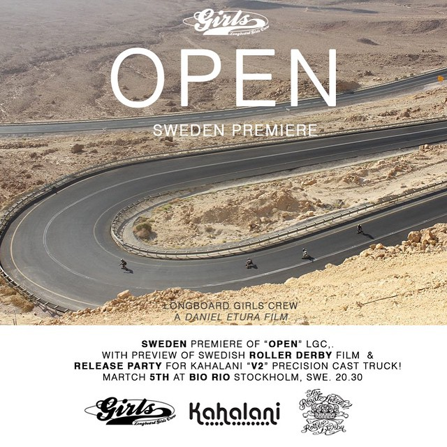 Next OPEN screening in SWEDEN!  @ishtiish & @kahalaniboards are hosting the Swedish OPEN premiere on March 5th. Go to longboardgirlscrew.com for all details! Be there if you're around x  #LongboardGirlsCrew #girlswhoshred #lgcopen #kahalani #sweden...