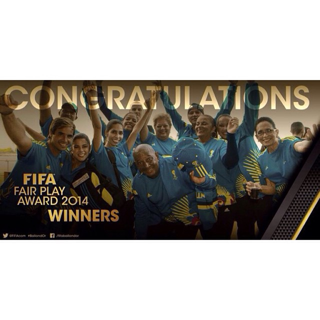 Thanks for such beautiful experience! Saudades da copa #BallonDOr #Brasil2014 #FIFAFairPlayAward #VolunteerSpirit