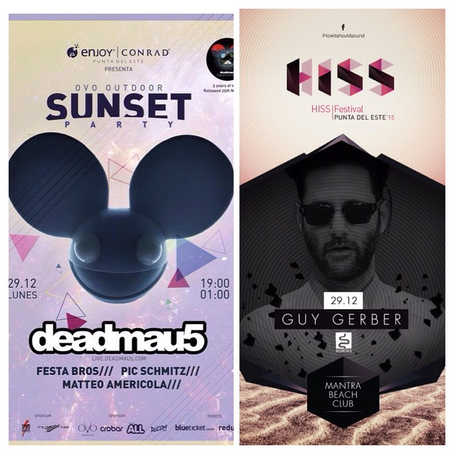 "29.12 | #PuntadelEste #Summer2015  deadmau5 Sunset Party 7pm to 1am at Ovo Outdoors  Hiss Festival ft Guy Gerber - Blondish 23hs at #MantraBeach  Tickets: http://punta.passto.com.ar/ descuento ""Fran Narvaja"" 5% OFF"